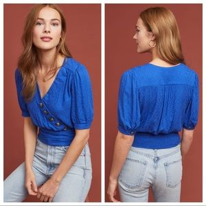Anthropologie • Blue Madelyn Button Wrap Top